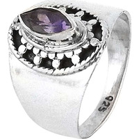 Precious Style!! Amethyst 925 Sterling Silver Rings