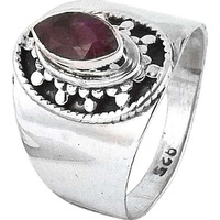 Big Natural ! Ruby 925 Sterling Silver Ring