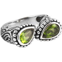 Two Tones Royal Dark!! Peridot 925 Sterling Silver Rings
