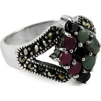 Big Secret Design! 925 Silver Blue Sapphire, Ruby, Emerald, Black CZ Ring