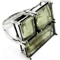 Afternoon Sun!! 925 Sterling Silver Green Amethyst Ring