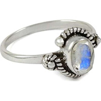 Stylish ! 925 Sterling Silver Rainbow Moonstone Ring