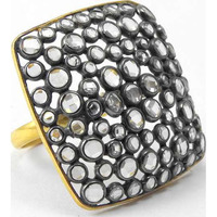 Big Relief Stone !! Gold Plated 925 Sterling Silver White CZ Ring