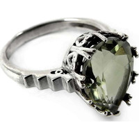 Big Royal! 925 Sterling Silver Green Amethyst Ring