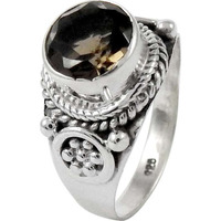 Big Special Moment! 925 Sterling Silver Smoky Quartz Ring