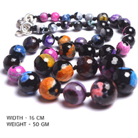 Shivacrystalreiki Multi colour Necklace gemstone mala onyx