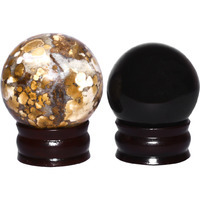 Shiva crystal reiki Chamtha sphere ball, Black obsidian  sphere Bucket of 2 pcs
