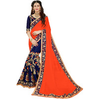 Festive Ethnic wear Manohari Orange Embroidery Georgette Saree