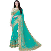 Festive Ethnic wear Manohari Green Embroidery Georgette Saree