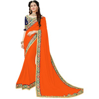 Festive Ethnic wear Manohari Orange Georgette saree for Women