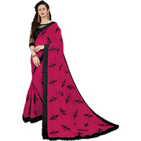 Festive Ethnic wear Manohari Pink Embroidery Georgette Saree