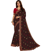 Festive Ethnic wear Manohari Brown Embroidery Silk Blends Saree