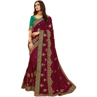 Festive Ethnic wear Manohari Magenta Embroidery Silk Blends Saree