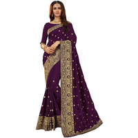 Festive Ethnic wear Manohari Purple Embroidery Silk Blends Saree