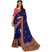 Festive Ethnic wear Manohari Blue Embroidery Georgette Saree