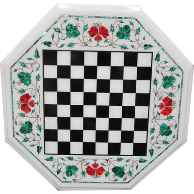 White Marble Chess T ...