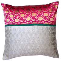 Silk Brocade Pillow Cover - 18  x18   -
