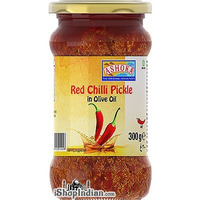 Ashoka Red Chilli Pickle in Olive Oil (10.5 oz bottle)