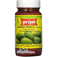Priya Mango Pickle (Avakaya) with Garlic (300 gm bottle)
