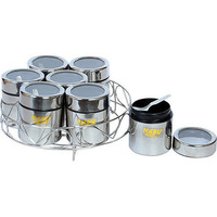 "Spice Container Stand With 7 Individual See-Through Containers (Large - 10"")"