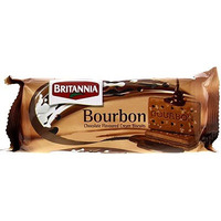 Britannia Bourbon Chocolate Cream Biscuits- 96 gms (4-Packs) (4 - 96 gm packs)