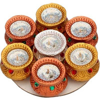 Silver and Gold Matki Diya - 7 Pack (#267) (7 diyas)