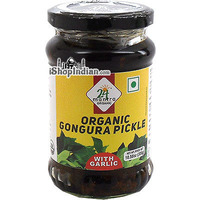 24 Mantra Organic Gongura Pickle with Garlic (10.58 oz bottle)