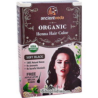 Ancient Veda Organic Henna Hair Color - Soft Black (5.30 oz box)