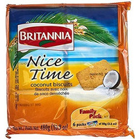 Britannia Nice Time Coconut Biscuits - Pack of 6 - Family Pack (6 x 80 gms pack)