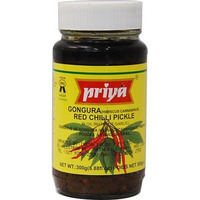 Priya Gongura Red Chili Pickle without Garlic (300 gm bottle)