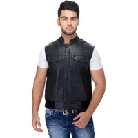 Le Alba Men's Rugged Black Moto Vest. (Size: EU:36)