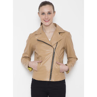 Le Alba Women Vintage Beige Biker Pu Leather Jacket (Size: EU:38)