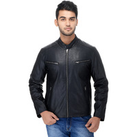 Le Alba Men's Rugged Black Riding Bomber Jacket. (Size: EU:36)