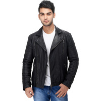 Le Alba Men's Rugged Black Moto Biker Jacket. (Size: EU:40)