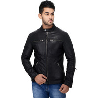 Le Alba Men's Stylish Black Moto Bomber Jacket. (Size: EU:36)