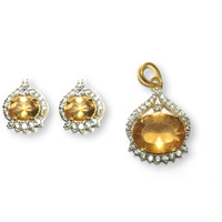 Kearth Sparkling Orange Citrine & White Sapphire Set In Perfect Ethnic Setting