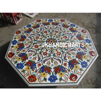 48   Marble Dining Table Top Semi Precious Marquetry Floral Inlay Home Decor Art