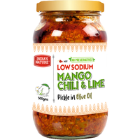 India's Nature Low Sodium Mango Chili & Lime Pickle in Oilve Oil - 500 Gm