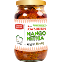 India's Nature Low Sodium Mango Methia Pickle in Olive Oil - 500 Gm