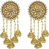 Babosa Sakhi Bahubali Earrings Polki Pearl Jhumka Jhumki Indian Bridal Jewelry