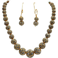 Babosa Sakhi Oxidised Precious Antique Work Ethnic Victorian Necklace Set