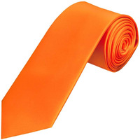 Mens Slim Skinny Solid Orange Color Satin Plain Neck Tie By Manna Stores (Color: Orange)