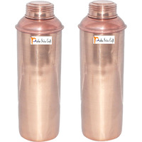 750 ML / 25 oz - Set of 2 - Prisha India Craft B. CHRISTMAS GIFT Pure Copper Water Bottle Pitcher for Ayurvedic Health Benefits - Handmade Copper Water Bottles