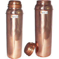 850ml / 28.74oz - Set of 2 - Prisha India Craft B. Pure Copper Water Bottle for Health Benefits - Water Pitcher Bottles - Handmade Christmas Gift Item