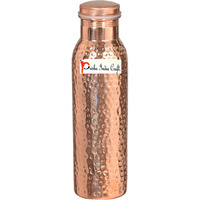 600ML / 20.28oz - Prisha India Craft B. - Pure Copper Water Bottle for Health Benefits | Joint Free, Best Quality Water Bottle - Handmade Christmas Gift Item - FREE BOTTLE CLEANING BRUSH