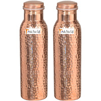 600ml / 20.28oz - Set of 2 - Prisha India Craft B. - Pure Copper Water Bottle for Health Benefits | Joint Free, Best Quality Water Bottle - Handmade Christmas Gift