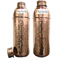 750ml / 25.36oz - Set of 2 - Prisha India Craft B. Pure Copper Water Bottle New Design Hammered Bottle  - Sports water Bottles - Christmas Gift with WOODEN KEYRING & 2 COASTER