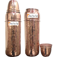 750ml / 25.36oz - Set of 2 - Prisha India Craft B. Pure Copper Water Bottle New Design Hammered water Bottle - Sports water Bottles - Christmas Gift with WOODEN KEYRING & 2 COASTER