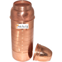 Prisha India Craft B. 800 ML Pure Copper Water Bottle New Design Copper Water Pitcher for the Refrigerator - Sports water Bottles - Christmas Gift with Bottle Cleaning Brush