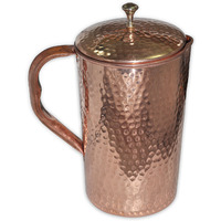 Prisha India Craft B. Best Quality Pure Copper Jug Water Pitcher Handmade Indian Copper Utensils for Ayurveda Healing Capacity 1.6 L